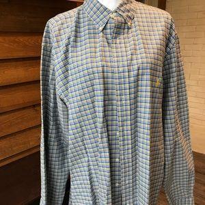 NWOT, RL, LS, Button Down, Blue Plaid Shirt